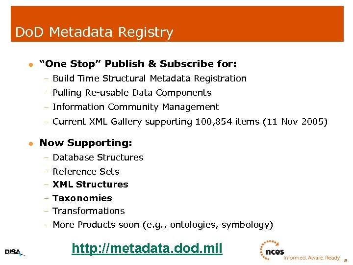 """Do. D Metadata Registry l """"One Stop"""" Publish & Subscribe for: – Build Time"""