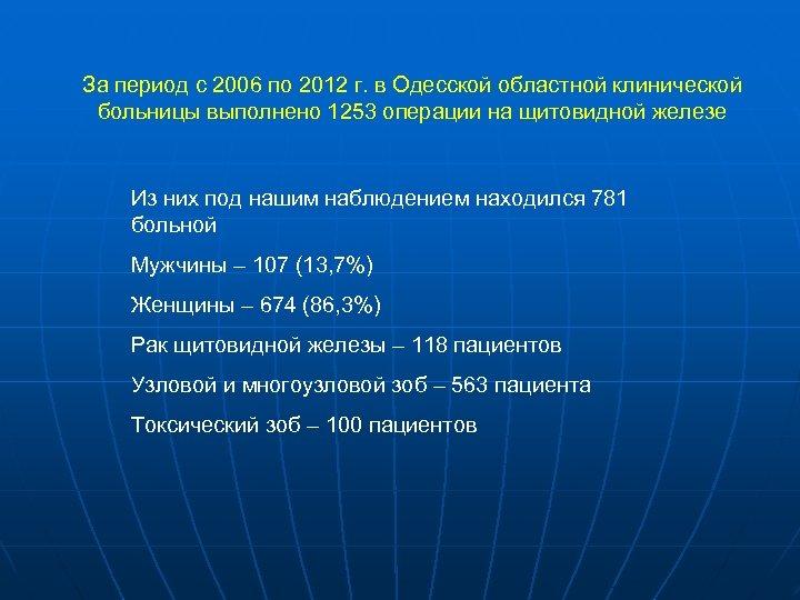 За период с 2006 по 2012 г. в Одесской областной клинической больницы выполнено 1253