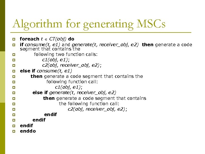 Algorithm for generating MSCs p p p p p foreach t CT(obj) do if