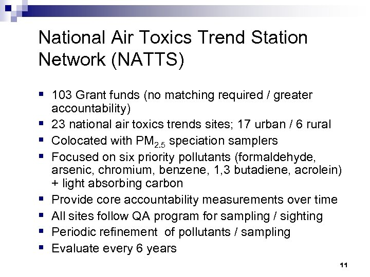 National Air Toxics Trend Station Network (NATTS) § 103 Grant funds (no matching required