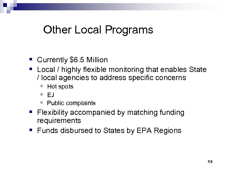 Other Local Programs § Currently $6. 5 Million § Local / highly flexible monitoring
