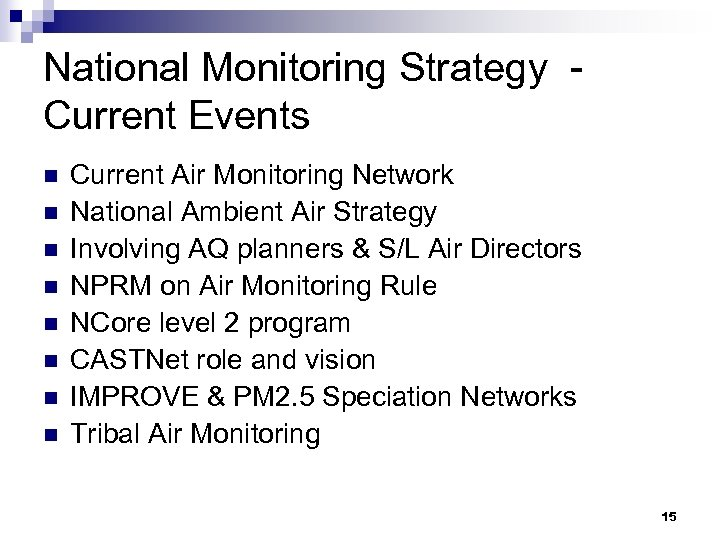 National Monitoring Strategy Current Events n n n n Current Air Monitoring Network National