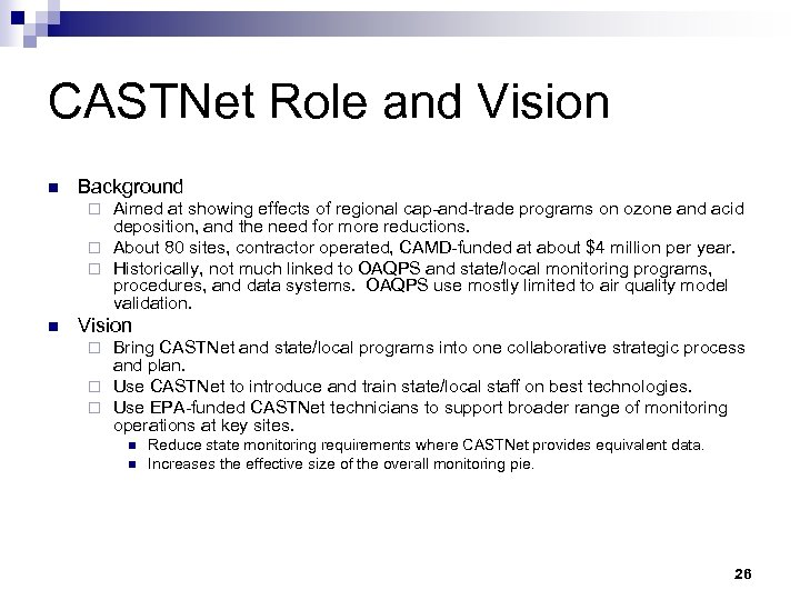 CASTNet Role and Vision n Background Aimed at showing effects of regional cap-and-trade programs