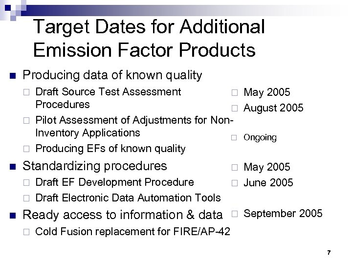 Target Dates for Additional Emission Factor Products n Producing data of known quality Draft