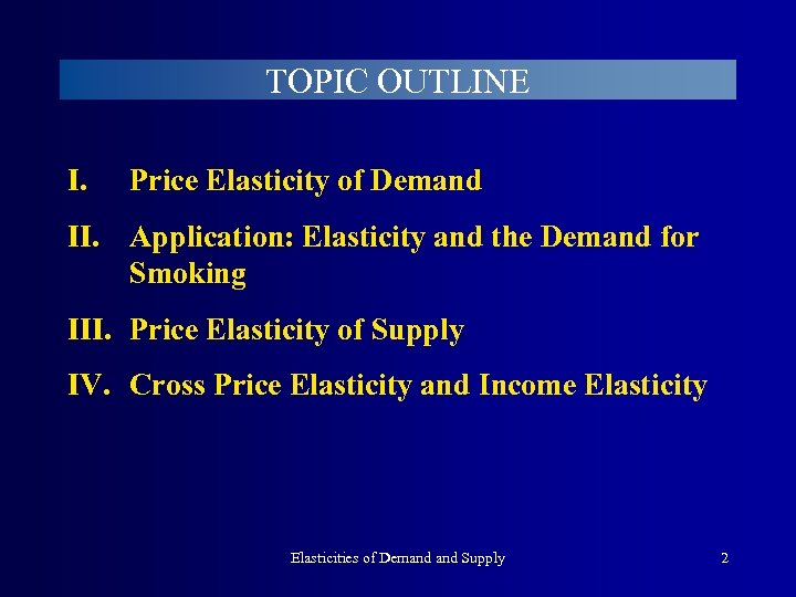 TOPIC OUTLINE I. Price Elasticity of Demand II. Application: Elasticity and the Demand for
