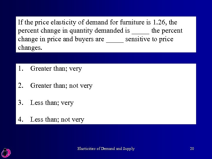 If the price elasticity of demand for furniture is 1. 26, the percent change