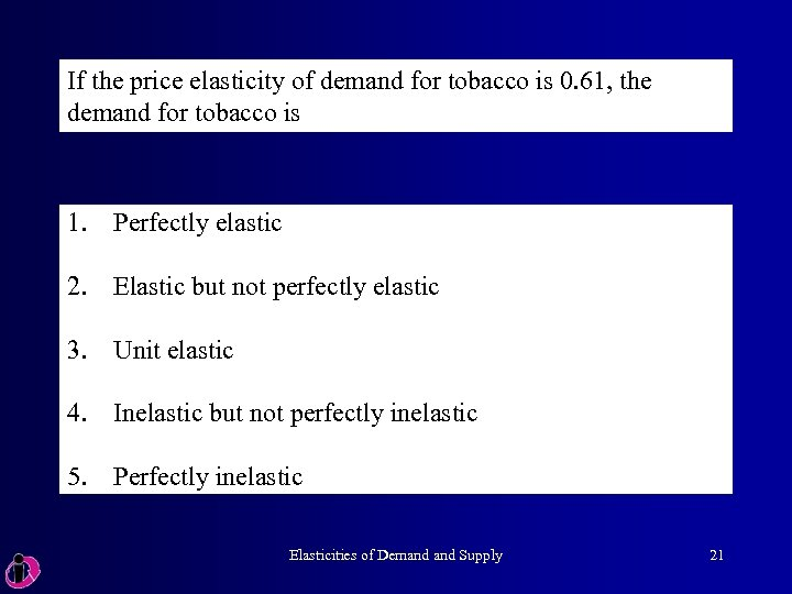 If the price elasticity of demand for tobacco is 0. 61, the demand for