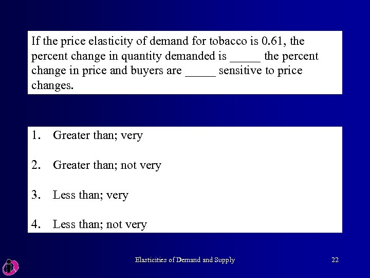 If the price elasticity of demand for tobacco is 0. 61, the percent change