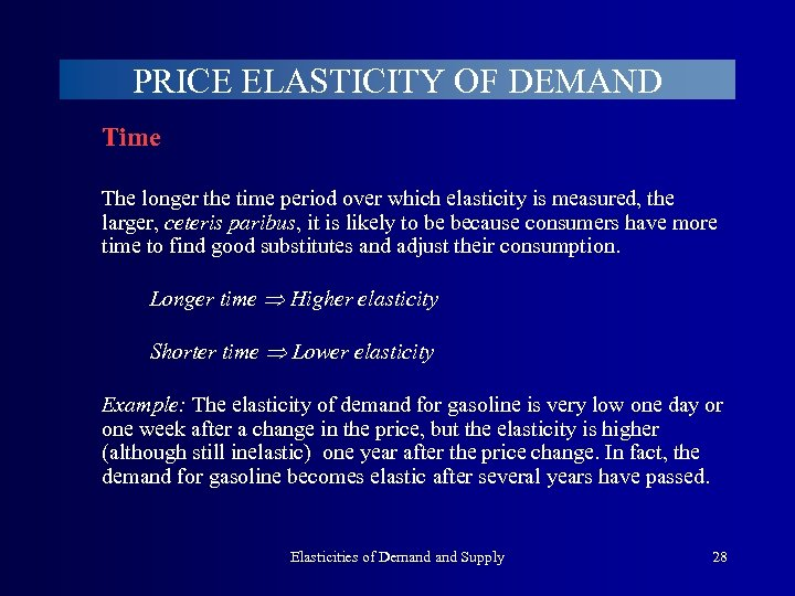 PRICE ELASTICITY OF DEMAND Time The longer the time period over which elasticity is