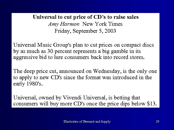 Universal to cut price of CD's to raise sales Amy Harmon New York Times