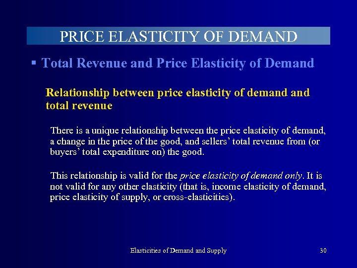 PRICE ELASTICITY OF DEMAND § Total Revenue and Price Elasticity of Demand Relationship between