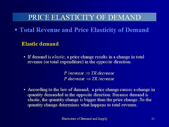 PRICE ELASTICITY OF DEMAND § Total Revenue and Price Elasticity of Demand Elastic demand