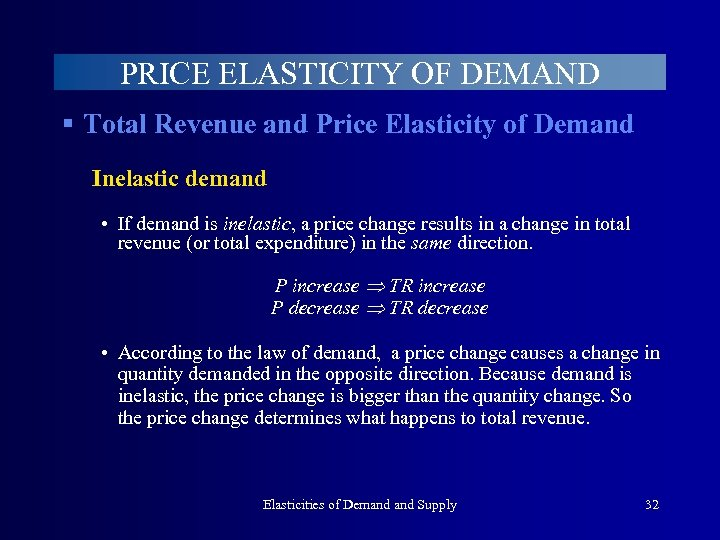 PRICE ELASTICITY OF DEMAND § Total Revenue and Price Elasticity of Demand Inelastic demand