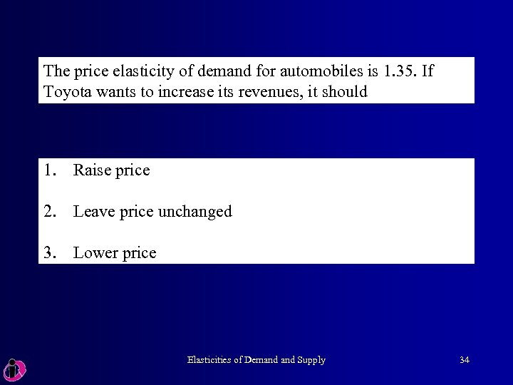 The price elasticity of demand for automobiles is 1. 35. If Toyota wants to