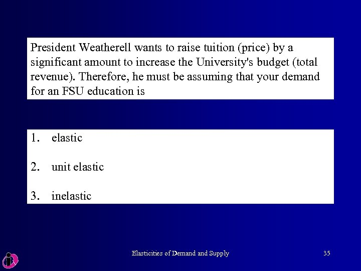President Weatherell wants to raise tuition (price) by a significant amount to increase the