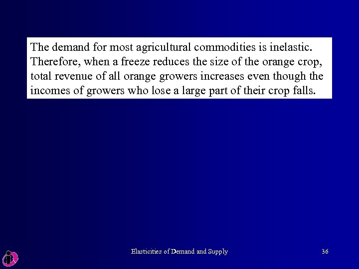 The demand for most agricultural commodities is inelastic. Therefore, when a freeze reduces the