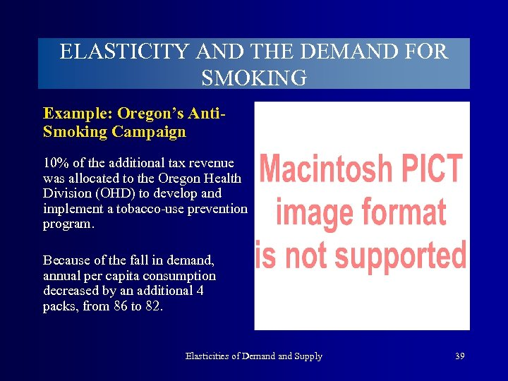 ELASTICITY AND THE DEMAND FOR SMOKING Example: Oregon's Anti. Smoking Campaign 10% of the