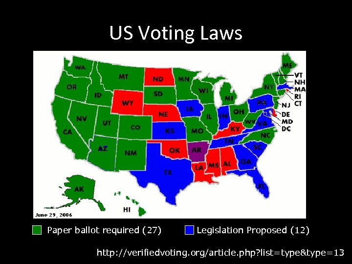 US Voting Laws Paper ballot required (27) Legislation Proposed (12) http: //verifiedvoting. org/article. php?