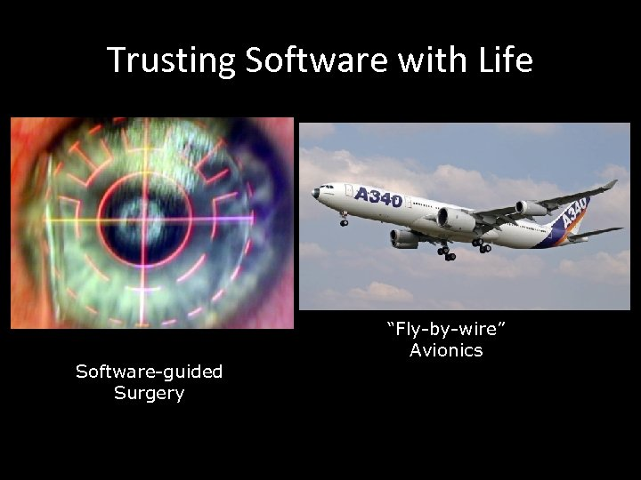"""Trusting Software with Life Software-guided Surgery """"Fly-by-wire"""" Avionics"""