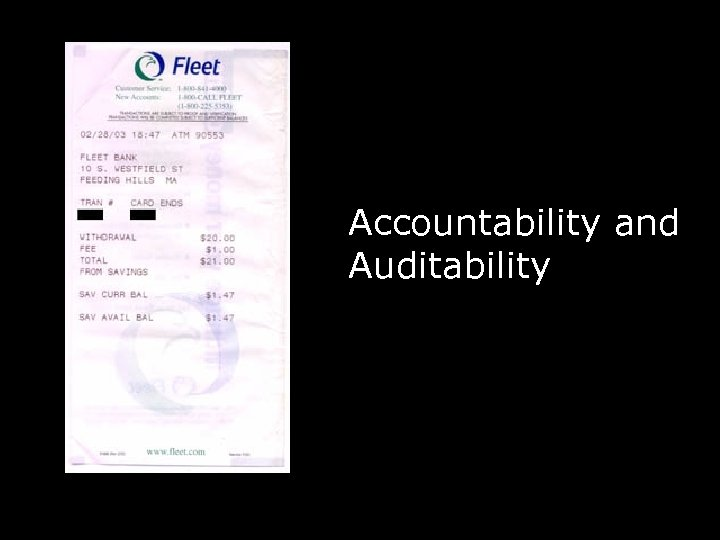 Accountability and Auditability