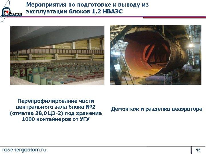 Мероприятия по подготовке к выводу из эксплуатации блоков 1, 2 НВАЭС Перепрофилирование части центрального