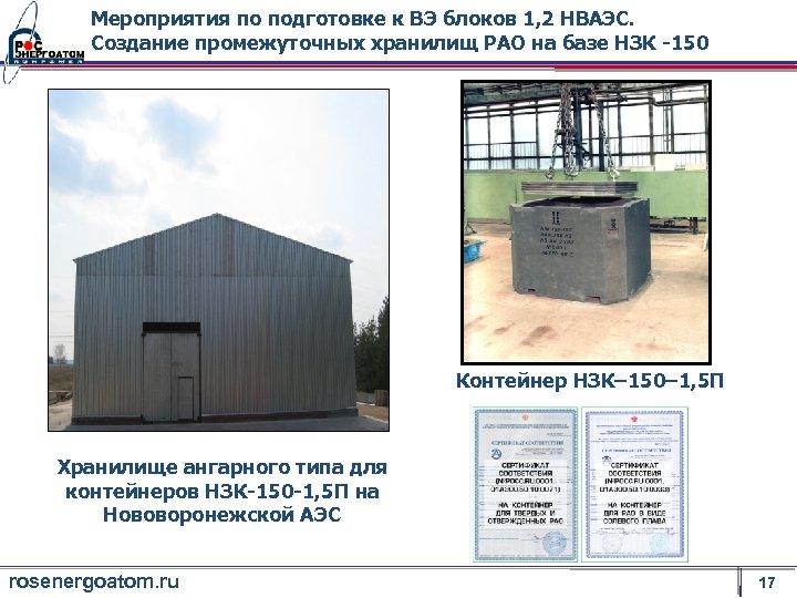 Мероприятия по подготовке к ВЭ блоков 1, 2 НВАЭС. Создание промежуточных хранилищ РАО на