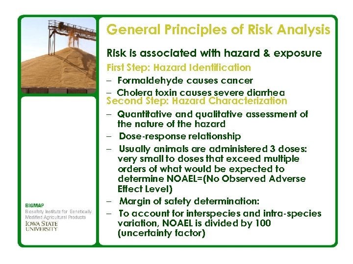 General Principles of Risk Analysis Risk is associated with hazard & exposure First Step: