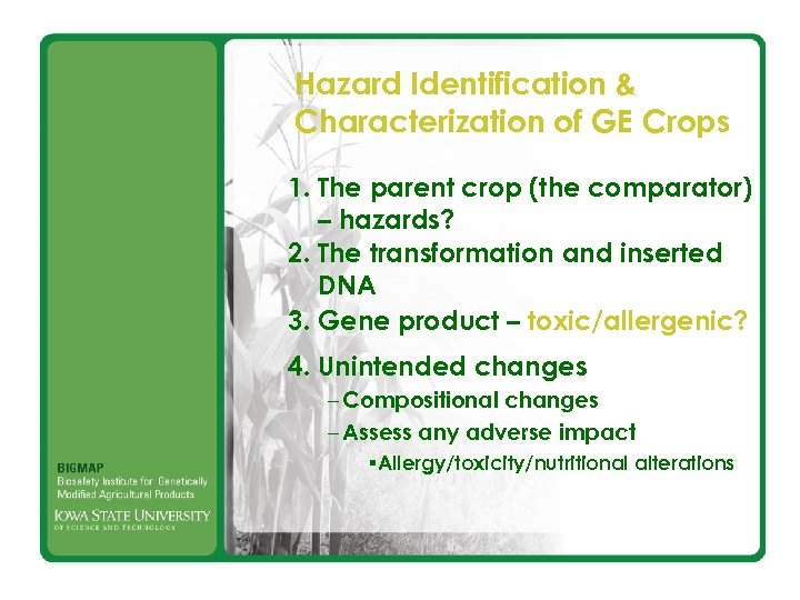 Hazard Identification & Characterization of GE Crops 1. The parent crop (the comparator) –
