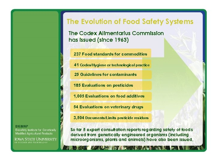 The Evolution of Food Safety Systems The Codex Alimentarius Commission has issued (since 1963)