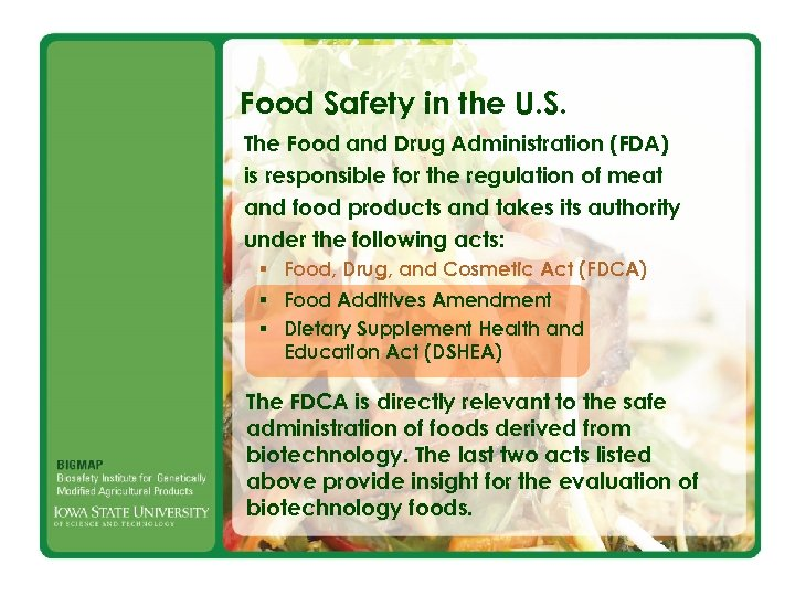 Food Safety in the U. S. The Food and Drug Administration (FDA) is responsible