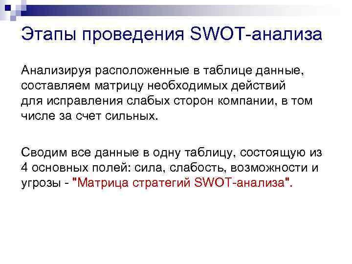 Этапы проведения SWOT-анализа Анализируя расположенные в таблице данные, составляем матрицу необходимых действий для исправления