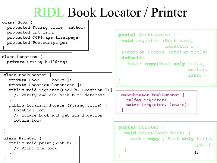 RIDL Book Locator / Printer class Book { protected String title, author; protected int