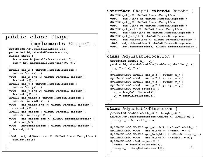interface Shape. I extends Remote { double void void public class Shape implements Shape.