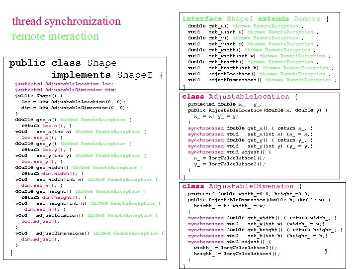 thread synchronization remote interaction interface Shape. I extends Remote { double void void public