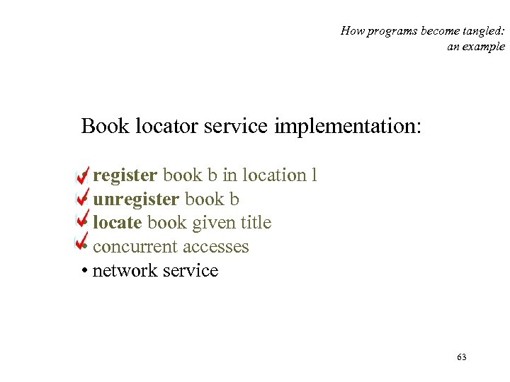 How programs become tangled: an example Book locator service implementation: • register book b