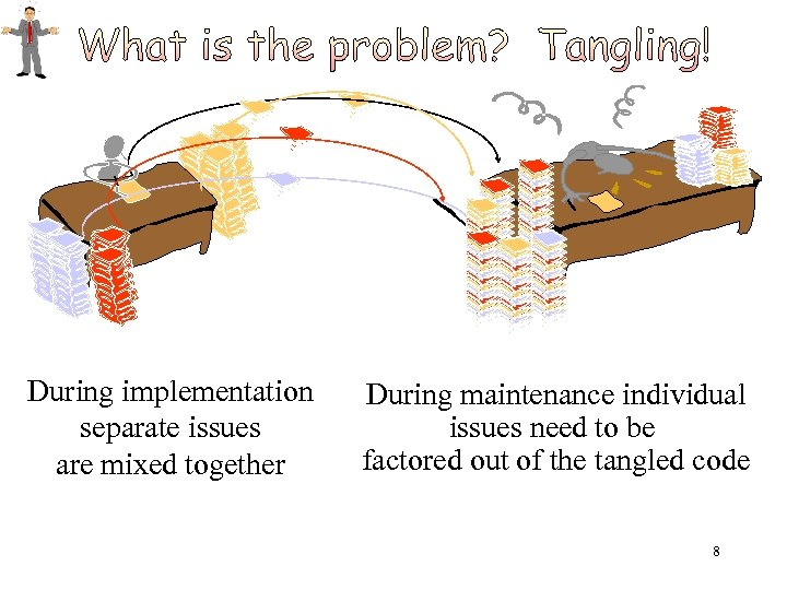 During implementation separate issues are mixed together During maintenance individual issues need to be