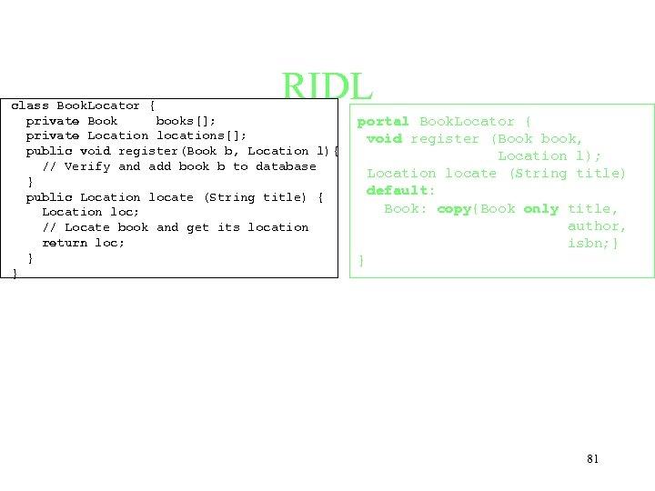 RIDL class Book. Locator { private Book books[]; private Location locations[]; public void register(Book