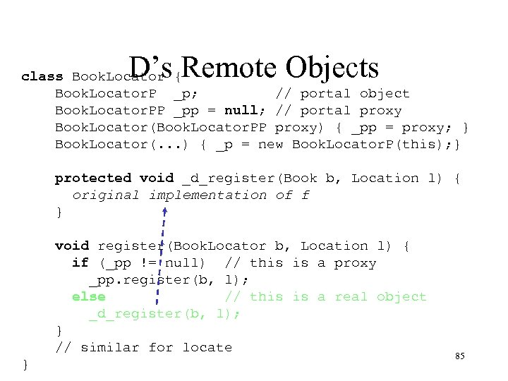D's Remote Objects class Book. Locator { Book. Locator. P _p; // portal object
