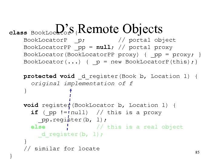 D's Remote Objects class Book. Locator { Book. Locator. P _p; // portal object