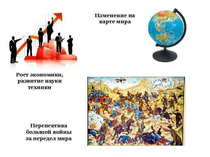Изменение на карте мира Рост экономики, развитие науки техники Перспектива большой войны за передел