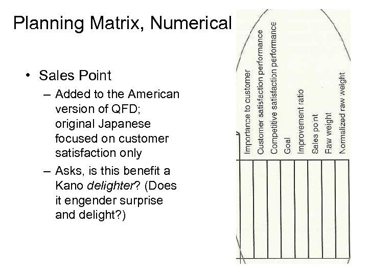 Planning Matrix, Numerical • Sales Point – Added to the American version of QFD;