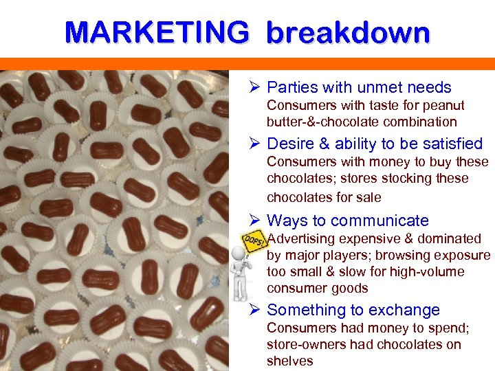 MARKETING breakdown Ø Parties with unmet needs Consumers with taste for peanut butter-&-chocolate combination