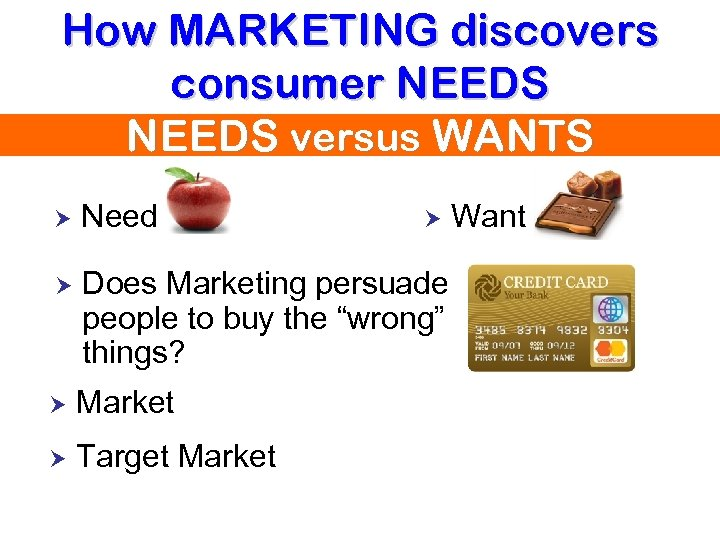 How MARKETING discovers consumer NEEDS versus WANTS Need Does Marketing persuade people to buy