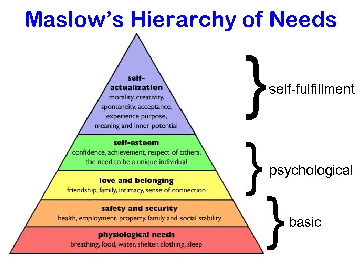 Maslow's Hierarchy of Needs } } self-fulfillment psychological } basic