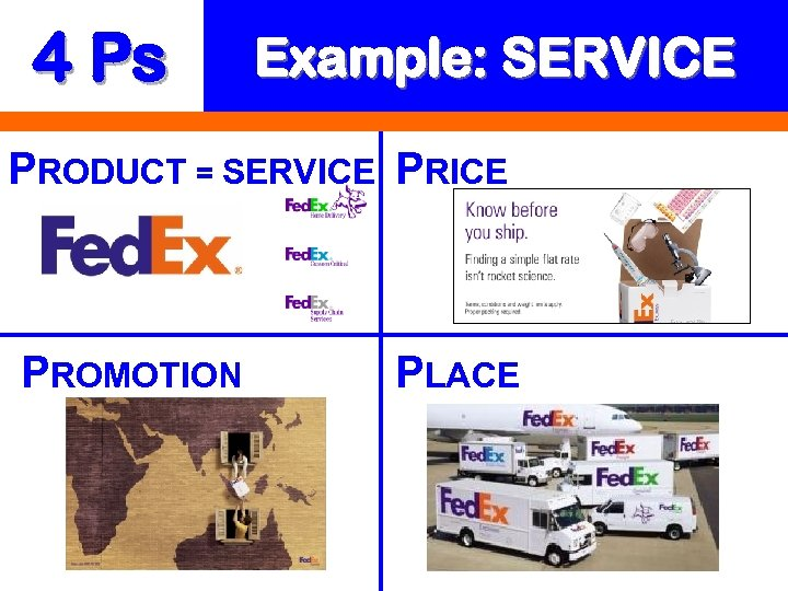 4 Ps Example: SERVICE PRODUCT = SERVICE PROMOTION PLACE
