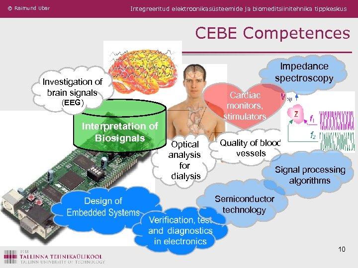 © Raimund Ubar Integreeritud elektroonikasüsteemide ja biomeditsiinitehnika tippkeskus CEBE Competences Impedance spectroscopy Investigation of