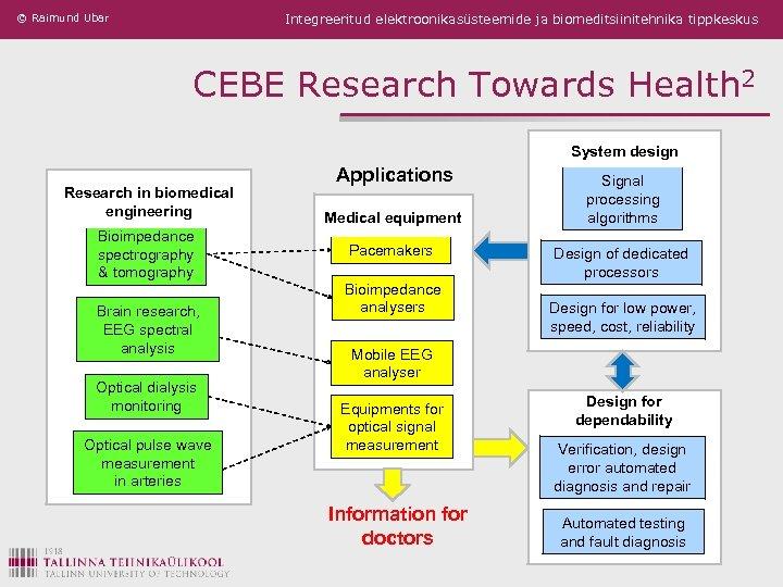 © Raimund Ubar Integreeritud elektroonikasüsteemide ja biomeditsiinitehnika tippkeskus CEBE Research Towards Health 2 System