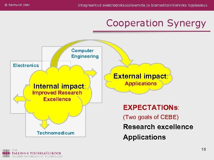 © Raimund Ubar Integreeritud elektroonikasüsteemide ja biomeditsiinitehnika tippkeskus Cooperation Synergy Computer Engineering Electronics External