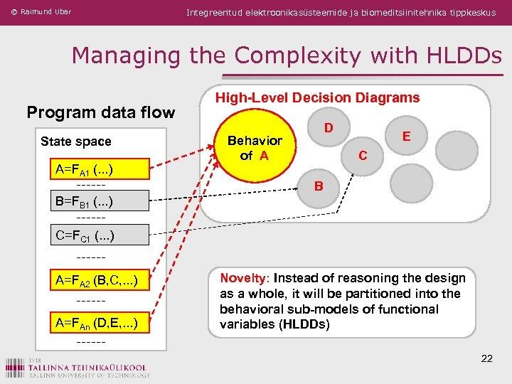 © Raimund Ubar Integreeritud elektroonikasüsteemide ja biomeditsiinitehnika tippkeskus Managing the Complexity with HLDDs Program