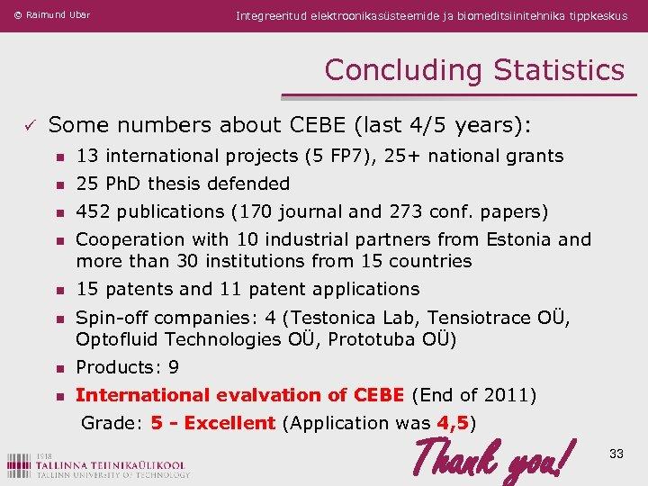 © Raimund Ubar Integreeritud elektroonikasüsteemide ja biomeditsiinitehnika tippkeskus Concluding Statistics ü Some numbers about